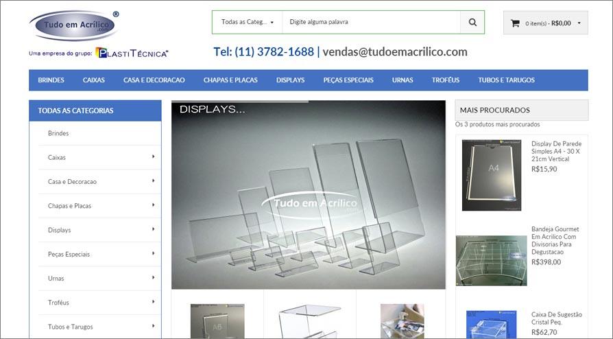 Lojas Virtuais para produtos em Acrílico