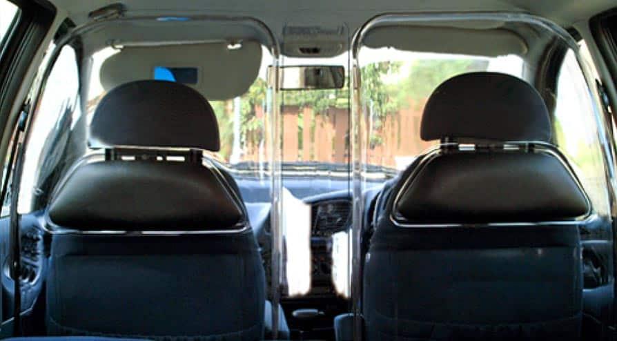 Proteções em acrílico moldadas para taxis e transporte por aplicativos